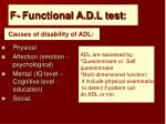 f functional a d l test