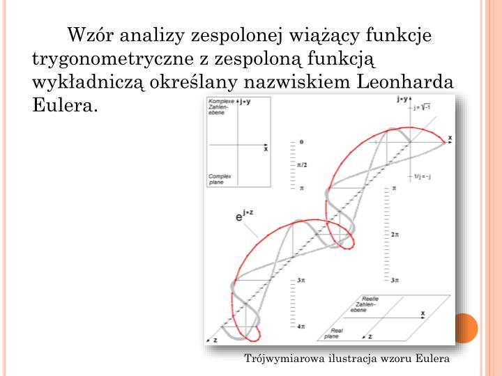 Wzóranalizy zespolonejwiążącyfunkcje trygonometrycznezzespolonąfunkcją wykładnicząokreślany nazwiskiemLeonharda Eulera.