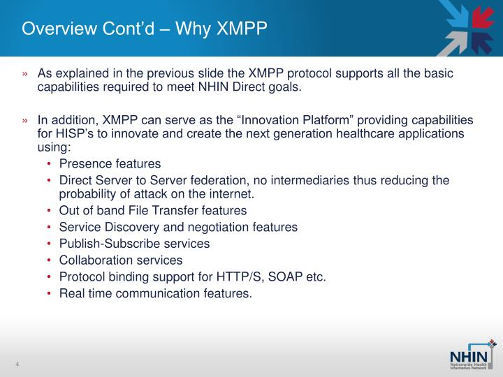 Overview Cont'd – Why XMPP