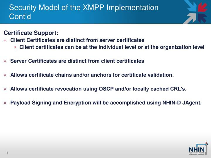 Security Model of the XMPP Implementation Cont'd