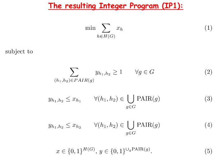 The resulting Integer Program (IP1):