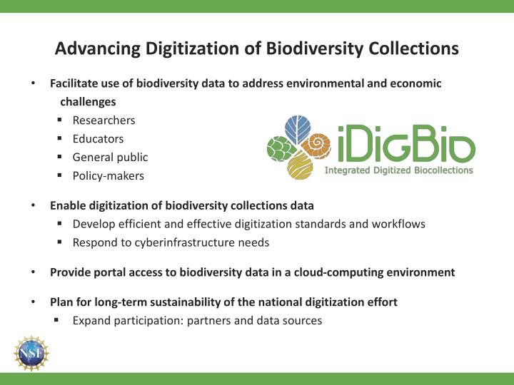 Advancing digitization of biodiversity collections