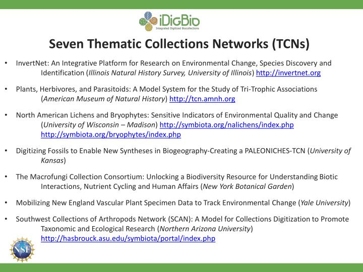 Seven Thematic Collections Networks (TCNs