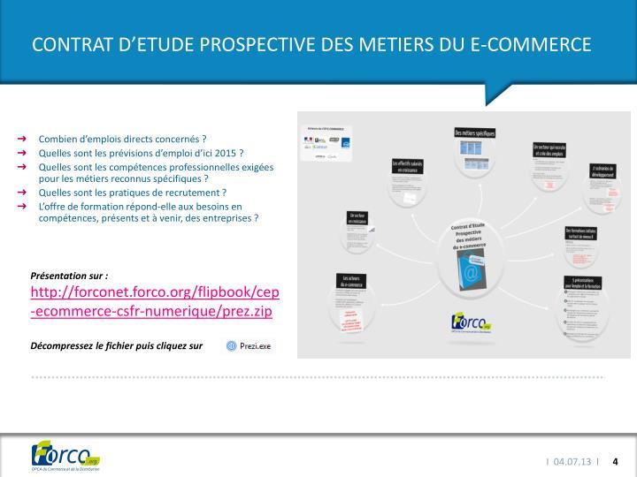 CONTRAT D'ETUDE PROSPECTIVE DES METIERS DU E-COMMERCE