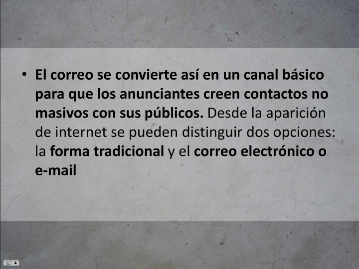 El correo se convierte así en un canal básico para que los anunciantes creen contactos no masivos con sus públicos.