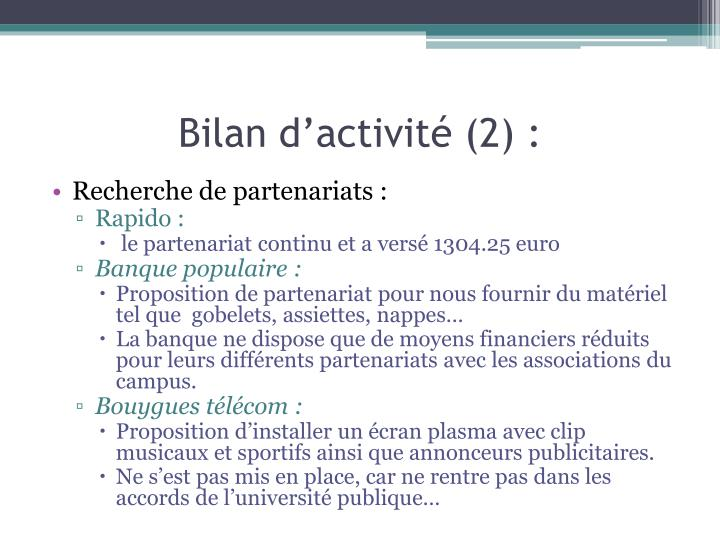 Bilan d'activité (2) :