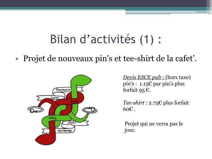 Bilan d'activités (1) :