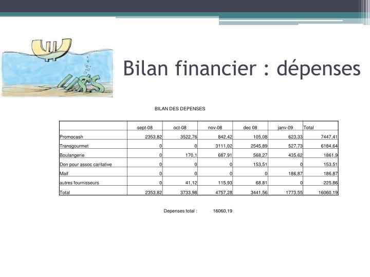Bilan financier : dépenses