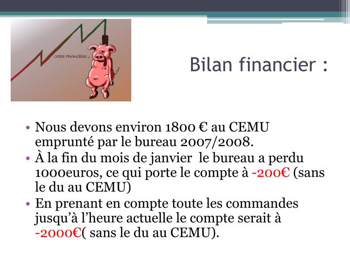 Bilan financier :