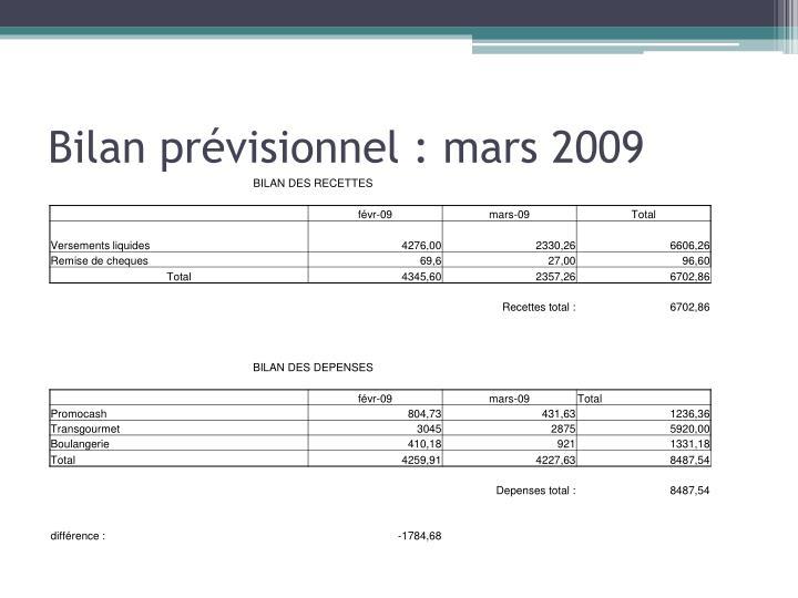 Bilan prévisionnel : mars 2009