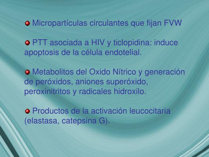 Micropartículas circulantes que fijan FVW