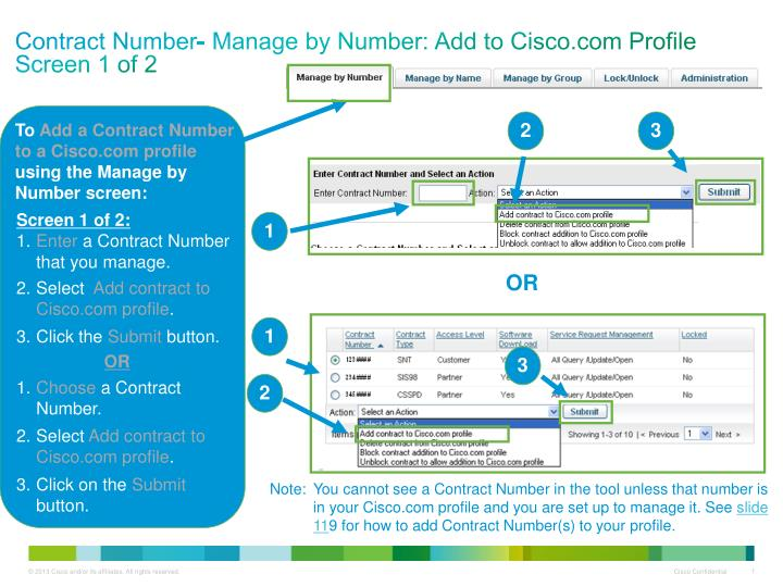 Contract number manage by number add to cisco com profile screen 1 of 2