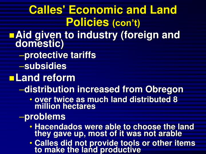 Calles' Economic and Land Policies