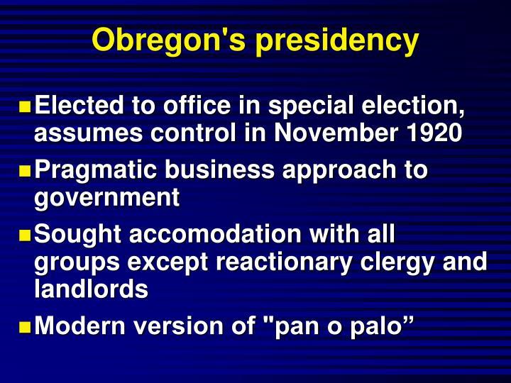 Obregon's presidency