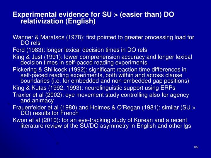 Experimental evidence for SU > (easier than) DO