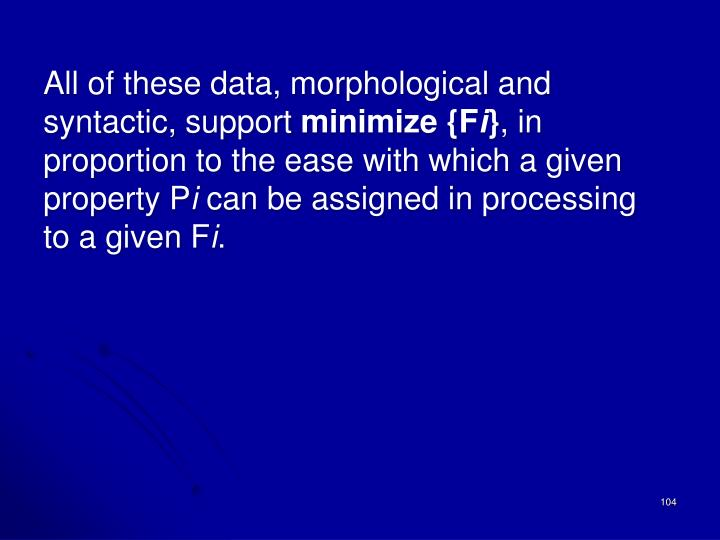 All of these data, morphological and syntactic, support