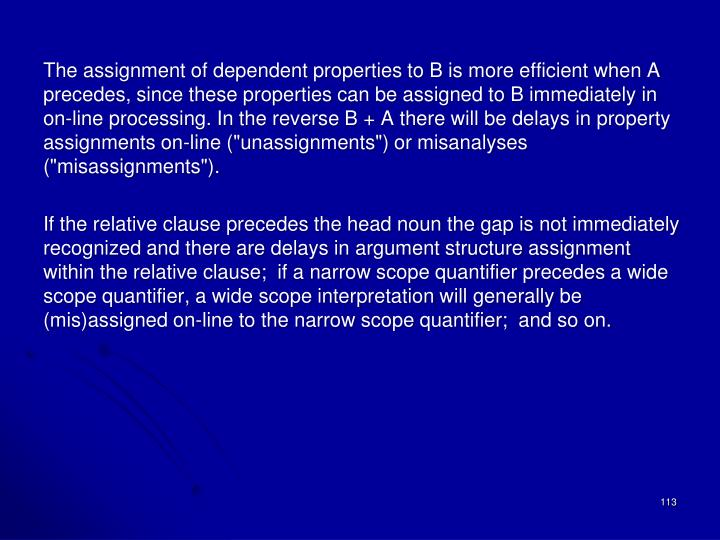 The assignment of dependent properties to B is more efficient when A precedes, since these properties can be assigned to B immediately in on-line processing. In the reverse B + A there will be delays in property assignments on-line (""