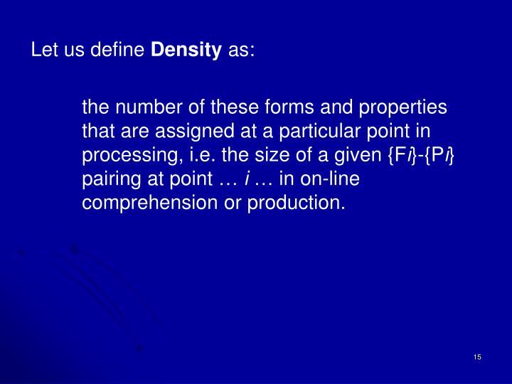 Let us define