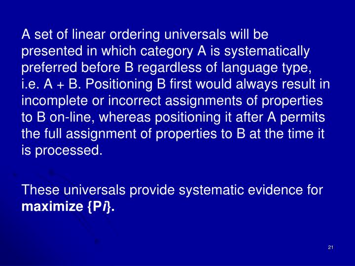 A set of linear ordering universals will be