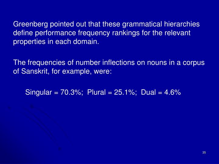 Greenberg pointed out that these grammatical hierarchies define performance frequency rankings for the relevant properties in each domain.