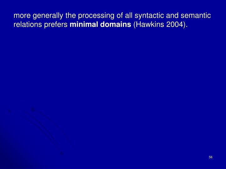 more generally the processing of all syntactic and semantic relations prefers