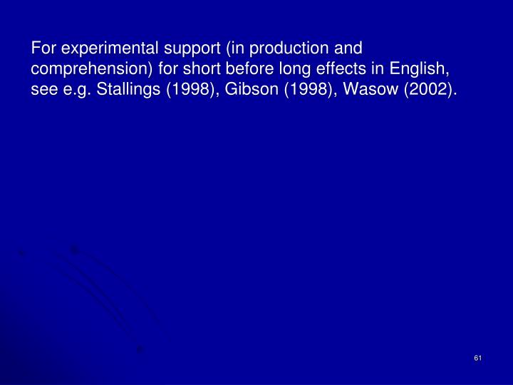 For experimental support (in production and comprehension) for short before long effects in English, see e.g. Stallings (1998), Gibson (1998),