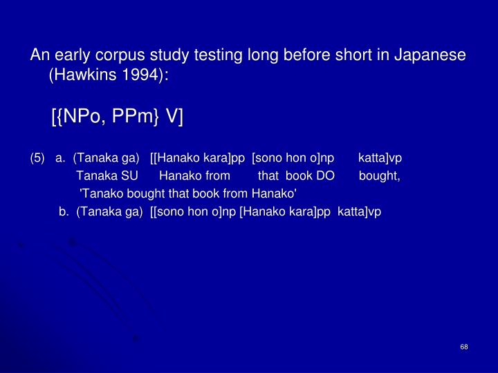 An early corpus study testing long before short in Japanese (Hawkins 1994):