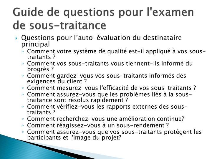 Guide de questions pour l'examen de sous-traitance