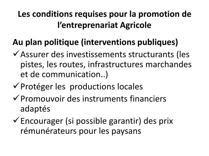 Les conditions requises pour la promotion de l'entreprenariat Agricole