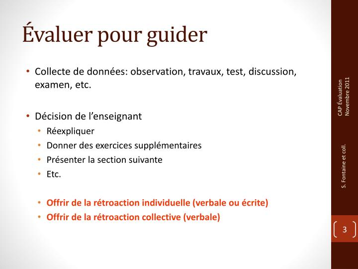 Valuer pour guider