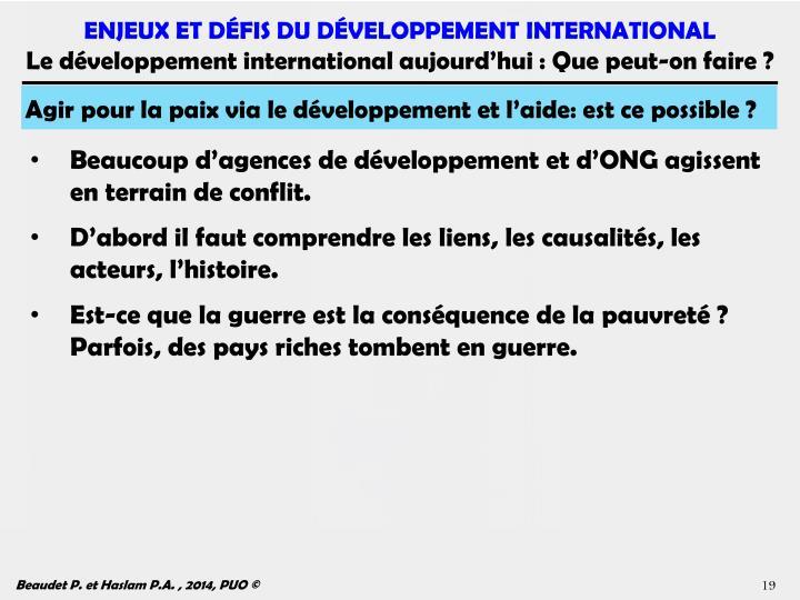Agir pour la paix via le développement et l'aide: est ce possible ?