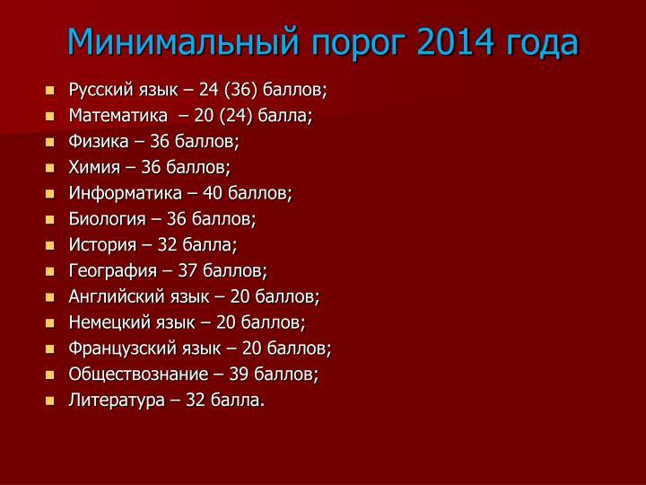Минимальный порог 2014 года