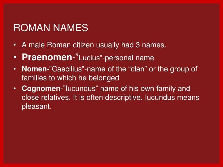 Roman Names – Bexdyie