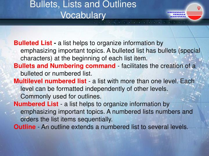 Bullets, Lists and Outlines  Vocabulary