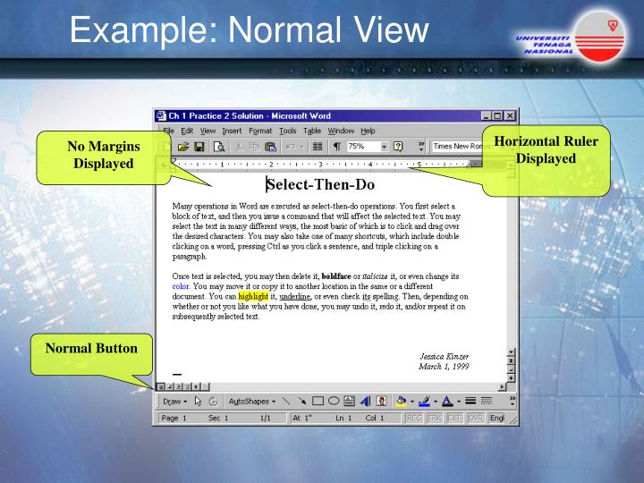 Example: Normal View