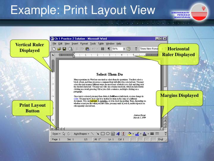 Example: Print Layout View