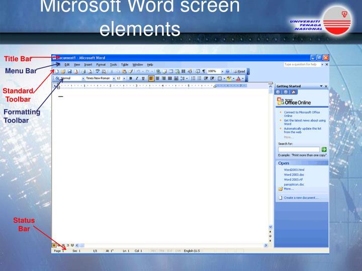 Microsoft Word screen elements