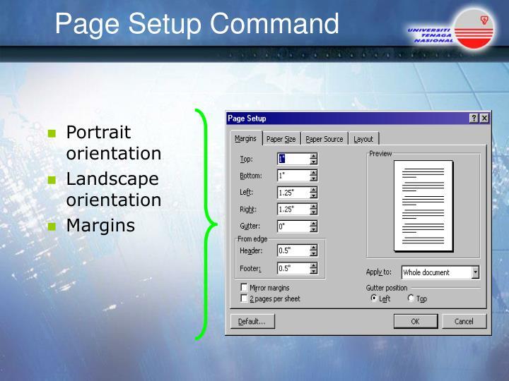 Page Setup Command