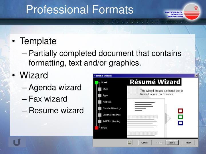 Professional Formats