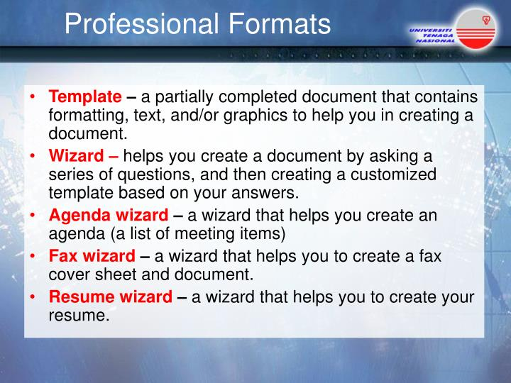 Professional Formats