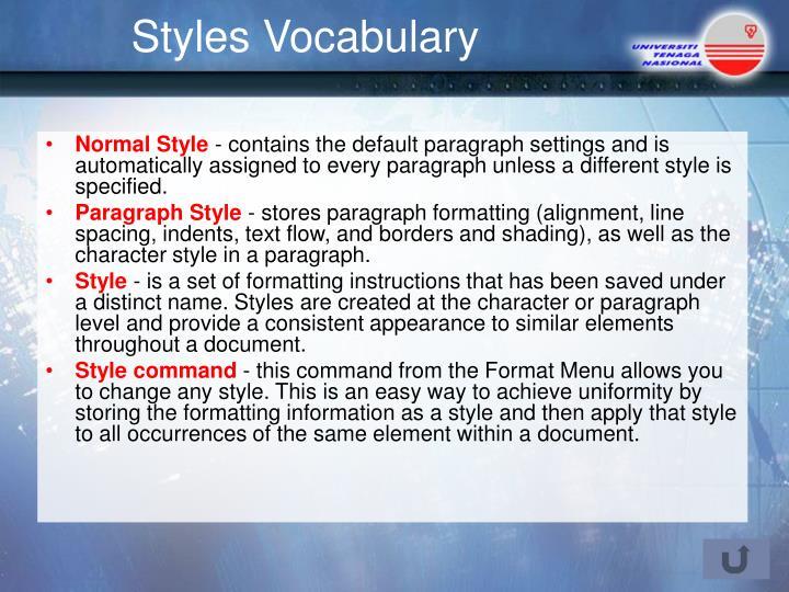 Styles Vocabulary