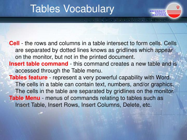 Tables Vocabulary