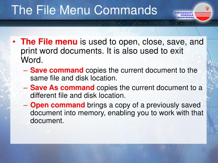 The File Menu Commands