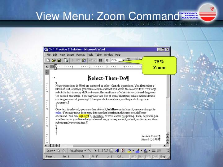 View Menu: Zoom Command