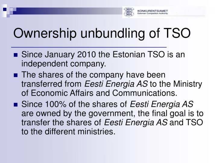 Ownership unbundling of TSO