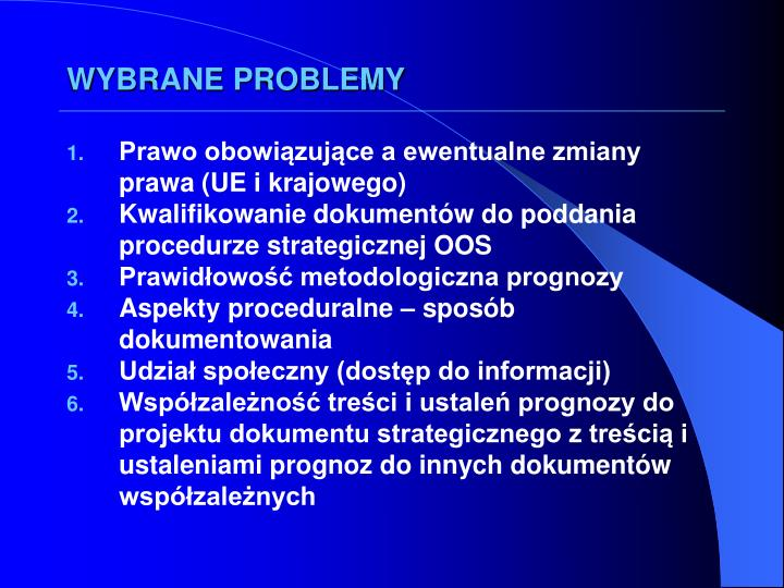 WYBRANE PROBLEMY