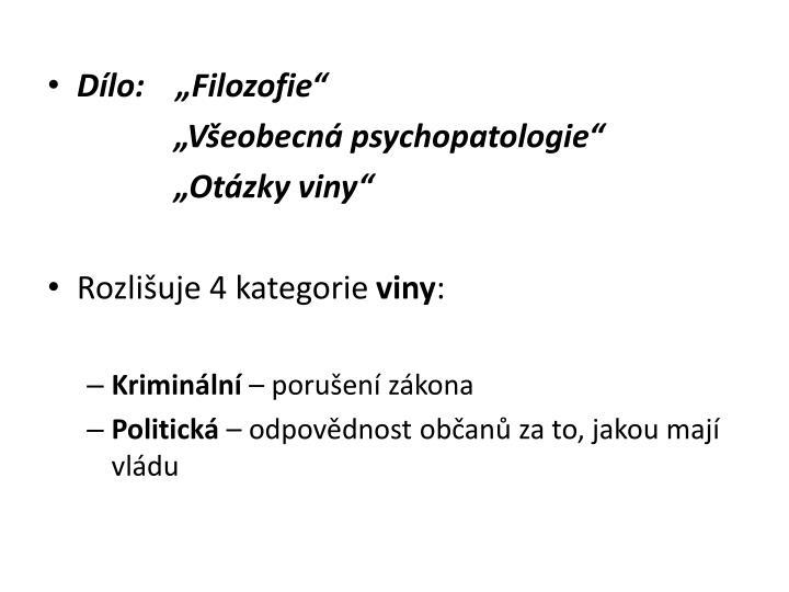 """Dílo:    """"Filozofie"""