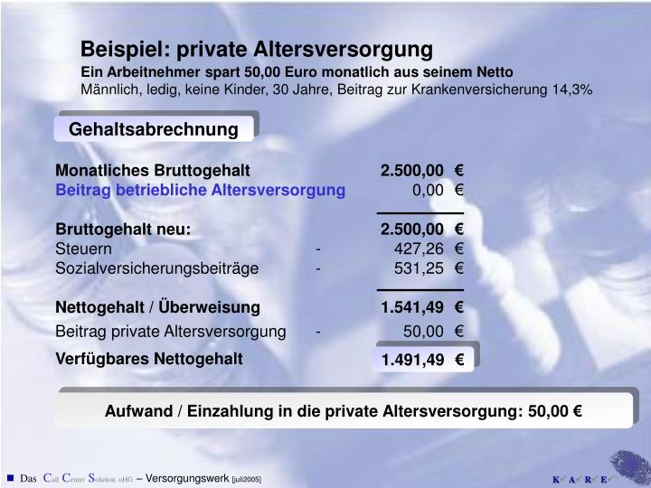 Beispiel: private Altersversorgung