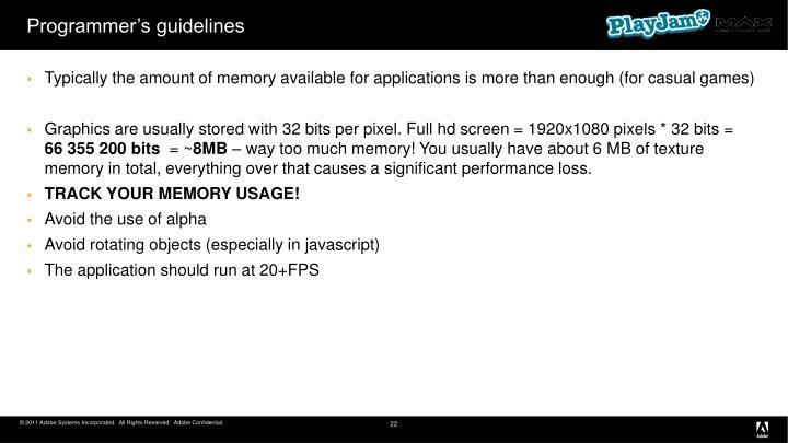 Programmer's guidelines