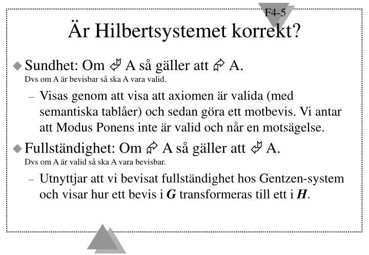 Är Hilbertsystemet korrekt?